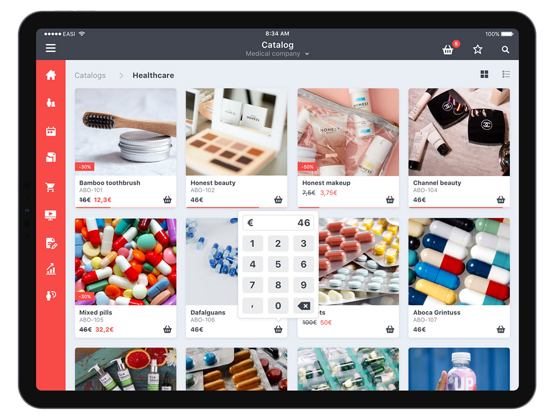 SmartSales product catalog screenshot