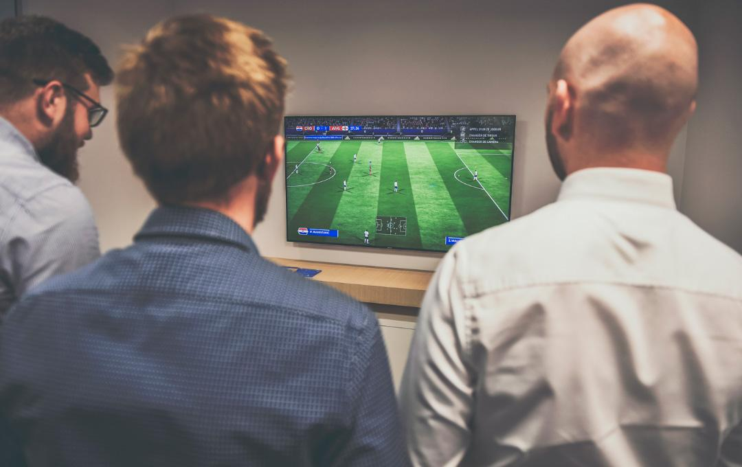 Colleagues playing together at Fifa