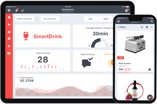 SmartSales dashboard tablet and smartphone